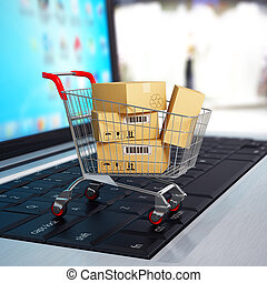 shoppen , laptop., kar, dozen, e-commerce., karton, 3d