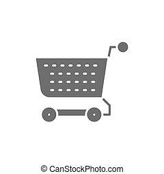 shoppen , vrijstaand, kar, achtergrond, grijze , wagentje, icon., witte