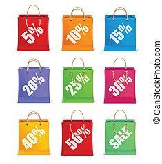 shoppen , zoals, etiketten, verkoop, zak, vector