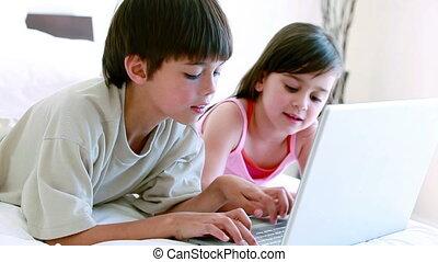 siblings, draagbare computer, het typen