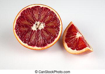siciliaan, bloed, helft, vrijstaand, wit rood, wig, sinaasappel