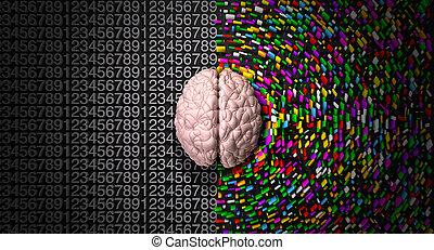 side., rechts, kleurrijke, verstand, verspreid, gestructureerd, logisch, creatief, analytisch, hersenen, afbeelden, links, bovenkant, typisch