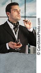 sigaar, drinkt, man, cognac, smoking