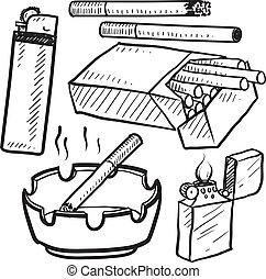 sigaret, schets, voorwerpen, smoking
