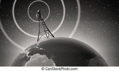 signaal, radiouitzending, retro, antenne