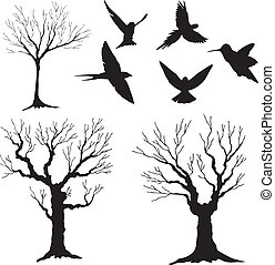 silhouette, boom 3, vogels, vector