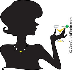 silhouette, cocktail