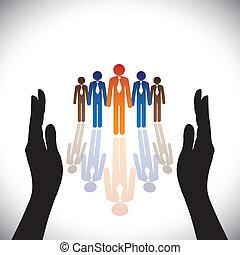 silhouette, concept-, bedrijf, secure(protect), hand, werknemers, collectief, of, stafmedewerkers