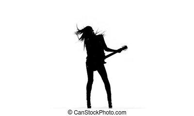 silhouette, elektrisch, dancing, jonge, spelende guitar, achtergrond., witte , meisje