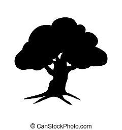 silhouette, flora, eik, pictogram