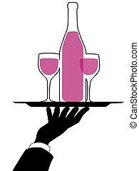 silhouette, garçon, houden, hand, blad, wijntje