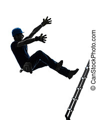silhouette, handleiding, het vallen, arbeider, man, ladder