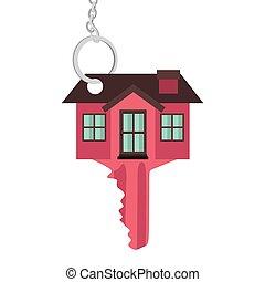 silhouette, kleur, woning, vorm, klee, rood