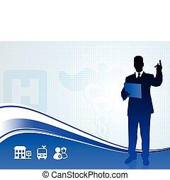 silhouette, medisch, spreker, achtergrond, rapport, publiek