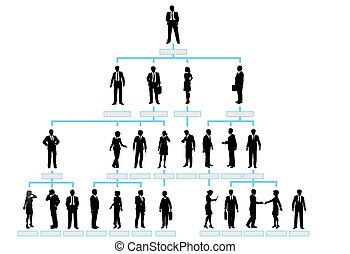 silhouette, mensen, bedrijf, tabel, organisatie, collectief