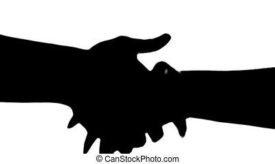 silhouette, mensen, twee, vrijstaand, white., handen te schudden