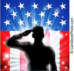 silhouette, ons, soldaat, vlag, militair, saluting
