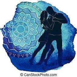 silhouette, paar., dancing