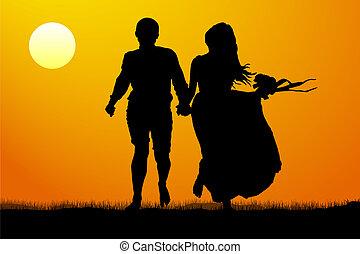 silhouette, paar, jonge, illustratie, vector, sunset.