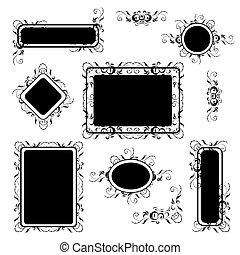 silhouette, set, ouderwetse , frame, ornament, floral