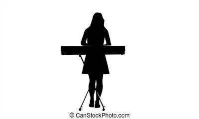 silhouette, spelend, achtergrond., studio, piano., witte , meisje