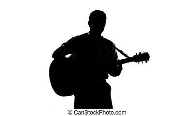 silhouette, spelende guitar, zwarte achtergrond, witte , kerel