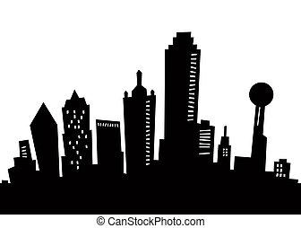 silhouette, spotprent, dallas