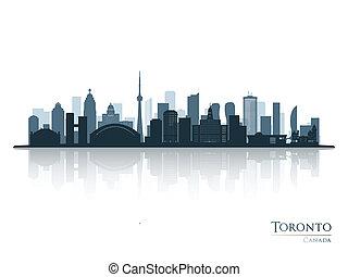 silhouette, toronto skyline, weerspiegeling., blauwe