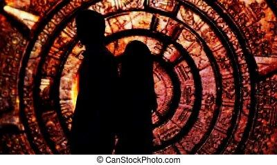 silhouette, tunnel, paar, hebben, ruggen, versiering, hun, anderen, fabelachtig, elke