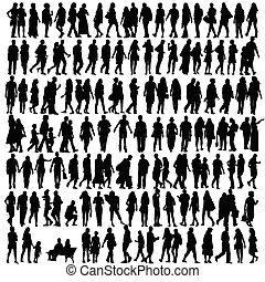 silhouette, vector, black , mensen