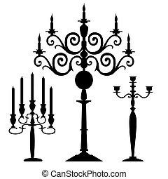 silhouette, vector, set, candelabra