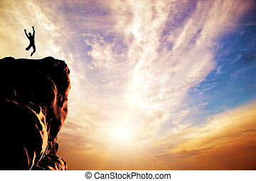 silhouette, vreugde, springt, ondergaande zon , piek, man, berg, klip