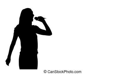 silhouette, vrouw, het zingen, animatie
