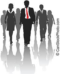 silhouette, zakenlui, wandeling, menselijke hulpbronnen