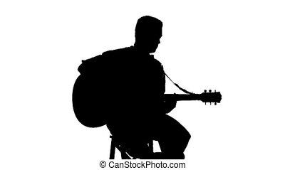 silhouette, zittende , gitaar, achtergrond, witte , spelend, man
