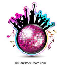 silhouettes, bal, disco