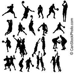 silhouettes, basketbal, verzameling