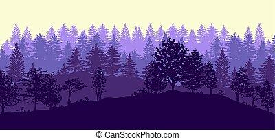 silhouettes, bomen, bos, achtergrond