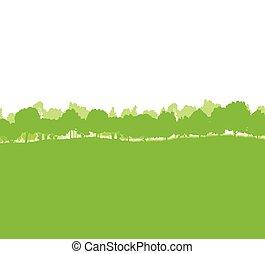 silhouettes, bomen, bos, landscape