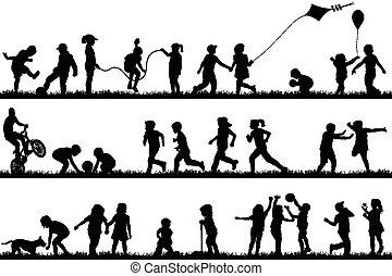 silhouettes, buiten, kinderen spelende