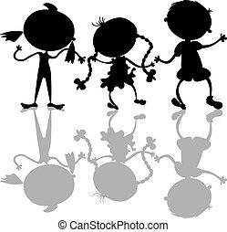 silhouettes, geitjes, black