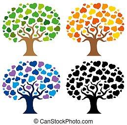 silhouettes, gevarieerd, bomen