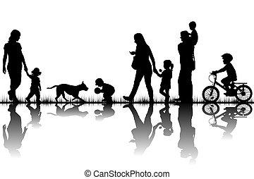 silhouettes, gezin, natuur
