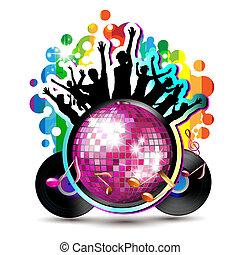 silhouettes, globe, disco