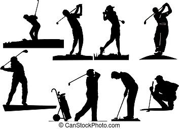 silhouettes, golfspeler, acht