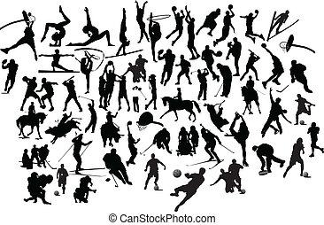 silhouettes., illustratie, vector, black , verzameling, witte , sportende