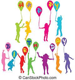 silhouettes, jarig, vasthouden, boodschap, ballons, kinderen, vrolijke