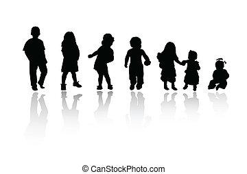 silhouettes, kinderen, -