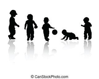 silhouettes, -, kinderen
