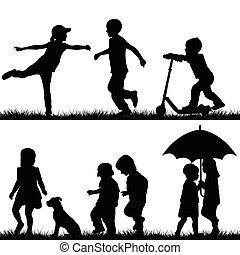 silhouettes, kinderen spelende